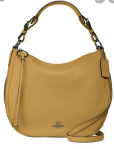 NWT - $325 COACH Sutton Pebbled Leather Hobo Shoulder Bag in Mustard