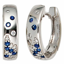 Creolen 585 Gold Weißgold 18 Diamanten Brillanten 0,10 ct. 14 Safire Ohrring