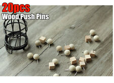20pcs Square Round Wood Thumb Tack Push Pins Home Office Message Bulletin Board