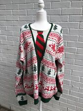Jolly Sweaters Men's Ugly Christmas Sweater Fake Cardigan Tie Mens XXL Super Big