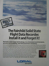 4/1991 PUB LORAL FAIRCHILD SOLID STATE FLIGHT DATA RECORDER ORIGINAL AD