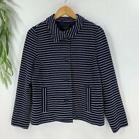 Talbots Womens Blazer Suit Jacket Nautical Navy White Striped Size LP Stretch