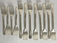 Lot 12 Wm Rogers DESIRE Salad Dinner Forks Overlaid Silver Plate IS Silverware