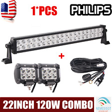 PHILIPS 22inch 120W LED Light Bar Offroad Driving UTE+2X18W Spot Lamp+Wiring Kit