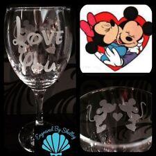 Custom Made Disney Minnie & Mickey Mouse Wine Glass Handmade Valentines Gift!