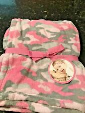 New super soft Plush Throw Pink Gray Camouflage Camo Baby Blanket Girls