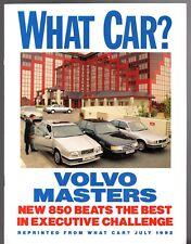 Volvo 850 GLT 2.0 Road Test 1992-93 UK Market Brochure What Car? Saab BMW Audi