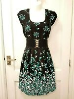 Dorothy Perkins Black Teal Geometric Floral Fitted Dress Belted Formal Party 12