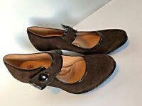 Sofft Shoes Comfort Mary Jane Suede Leather Heels Pumps Womens 7W Brown
