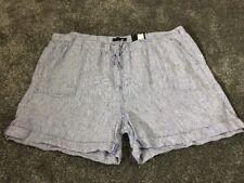 M&S  Women Cobalt  100% Linen Casual Shorts BNWT Size 20 Free Sameday Postage