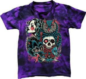 Wild Nature T-Shirt tribal tattoo dragon owl skull tie dyed