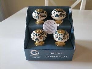 CASA DECOR Home Design Blue CERAMIC Drawer Knobs/Pulls Set of 4 Gold Base NEW
