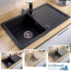 """LINDBERGH® Granit Spüle """"VEL"""" + Siphon Einbauspüle Küchenspüle Spülbecken"""