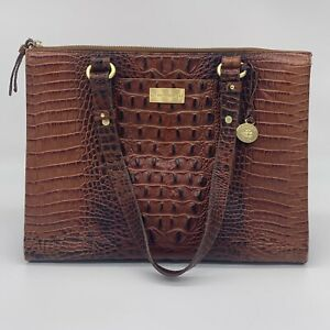 BRAHMIN Anywhere Tote Pecan Melbourne Crocodile Croc Leather Shoulder Bag Purse