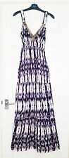 Gorgeous New Look black, purple and white maternity maxi dress size 10 vgc