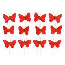 Pack of 12 Red Glittered Feather Butterflies x 5cm - Wired - Bouquet Corsage