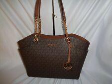 Michael Kors Jet Set Travel Large Chain Shoulder Tote Handbag Brown MK Shopper