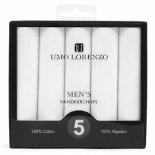Men's White Solid 100% Cotton Handkerchiefs 5 Pack Umo Lorenzo 16 x 16 (HB005)