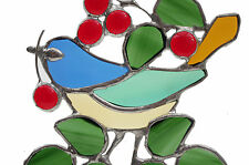 Beautiful Stained Glass William Morris inspired Strawberry Thief Bird