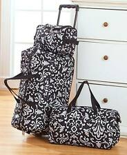 The Lakeside Collection 3 Pc. Black Damask Trendy Luggage Set