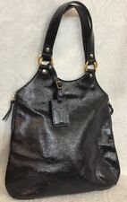 Ysl Purse Dark Navy Patent Leather Tribute Double Handle Side Zippers