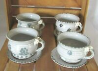 4 Unique Handmade Blue White Pottery Coffee Tea Mug Cup Saucers Roses on Handles