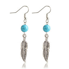 silver feather leaf turquoise dangle drop hook earring earrings gift luck dog