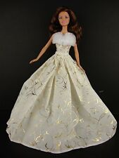 Ivory Gown w/Gold Details & Fur Trim - Limited Edition Christmas Collection