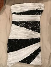 New Roberta Black And White Strapless Dress, Ruffles, Sequin, Short, Size M