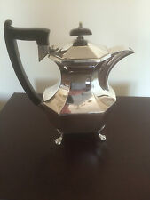 BEAUTIFUL SILVER PLATED COFFEE POT ON 4 PAW FEET MADE IN ENGLAND  (SPCP 6057)