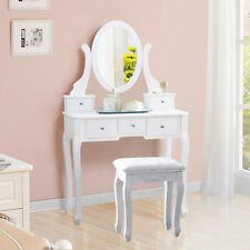 US Modern Home Bedroom Single Mirror MDF Wood Dresser with Dressing Stool White