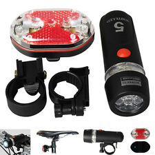 New 5 LED Lamp Bike Bicycle Front Head Light + Rear Safety Flashlight