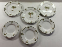 6pc Gibson BAHAMA / Palm Bay 3 Salad Plates 3 Saucer Plates Palm Trees