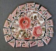 Vintage Large Pink Floral Embossed Focal + 20 Mosaic Tiles