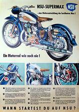 NSU supermax motocicleta literatura datos póster cartel imagen decorativas publicitarias publicidad