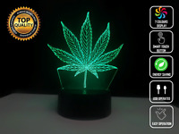 WEED HERB SMOKE 3D Acrylic LED 7 Colour Night Light Touch Table Desk Lamp Gift
