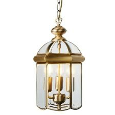 3 light traditional Lantern Antique Brass Glass Dome Ceiling Pendant searchligh