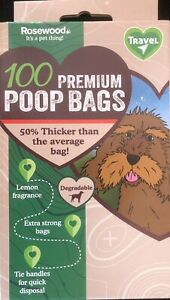 600 (6 x 100 ) PREMIUM EXTRA STRONG  BLACK Doggy Poo Waste Bags