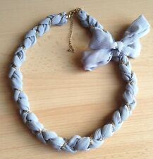 Tone Chain Necklace wth Ribbon Detail Lovely Braided Silver Grey Scarf and Gold