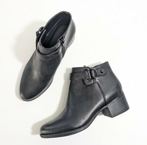 Naturalizer Drewe Black Leather Booties NEW Sz 6 Ankle Boot Round Toe Size Zip