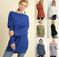 UMGEE Women's Sweater Off Shoulder Chunky Knit Long Sleeve Oversized Tunic