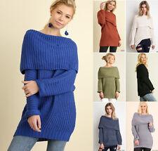 S M L UMGEE Off Shoulder Long Sleeve Tunic Knit Sweater Chunky Boho Womens Black