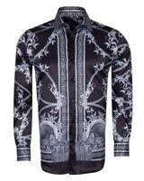 Mens Oscar Banks Turkey Shirt Satin Roman Lion Medusa European 6602 Black Gray