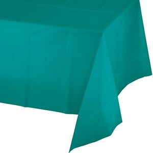 """54"""" x 108"""" Plastic Table Covers - Heavy Duty Disposable Tablecloths 8ft. Long"""