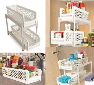 2 Tier Sliding Basket Under Sink Kitchen Cabinet Plastic Pull Out Basket Storage