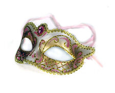 Masquerade Mask White Gold Pink Crystal Party Prom Tooth Fairy Decor Costume