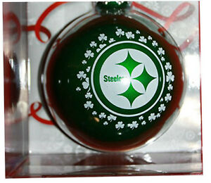 Pittsburgh Steelers Green Glass Ornament Shamrock xmas Tree Saint Patrick Irish