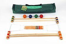traditionnel Junior Enfants CROQUET Ensemble en sac toile avec bois de bouleau