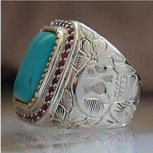 Mens Gothic Retro Turquoise Flower Skull Carved Ring Biker Party Jewelry Gift