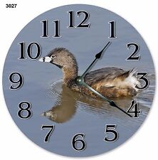 "10.5"" PIED-BILLED GREBE BIRD CLOCK Large 10.5"" Wall Clock Home Décor Clock -3027"